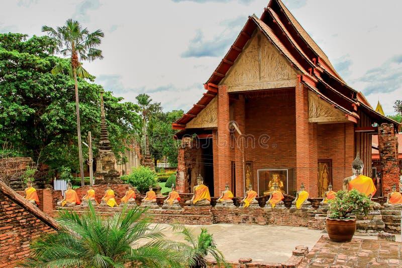 Thailand, Azië, Ayuthaya, Wat Yai Chai Mongkhon, Oost-Azië royalty-vrije stock afbeeldingen