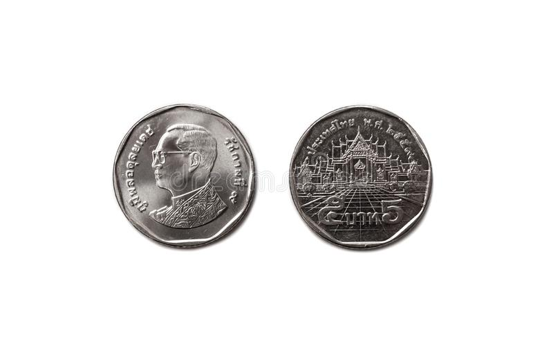 Thailand 5 baht coin currency 5 thai consist of front and back side on perfectly isolated white background stock photos