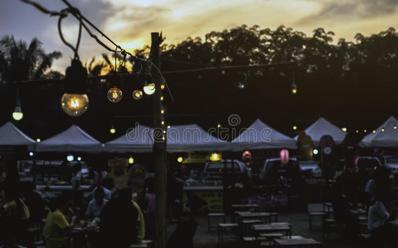 Thailand at Bang saphan noi Night maket. on 26/04/2019. peoplels is go to Outdoor night market enjoy romantic atmosphere with suns royalty free stock photos