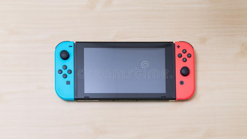Thailand , Bangkok - MAY 7, 2018 Nintendo Switch game console on royalty free stock images