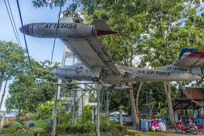 Old US Army aircraft, Cessna  318 t-37b at the monastery. Thailand, Bangkok, 06.07.2019 Old US Army aircraft,Cessna  318 t-37b at the monastery royalty free stock photos