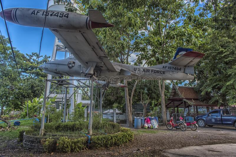 Old US Army aircraft, Cessna  318 t-37b at the monastery. Thailand, Bangkok, 06.07.2019 Old US Army aircraft,Cessna  318 t-37b at the monastery royalty free stock images