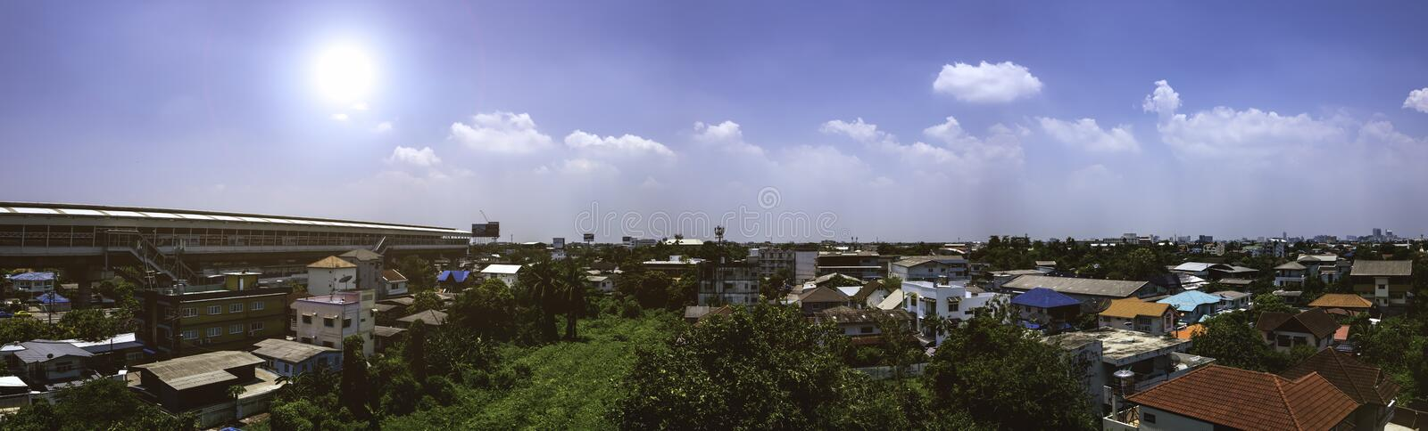 Thailand Bangkok. On 24/04/2019. Panorama city scape house. Afternoon sunshine day clearly weather white cloud and blue sky backgr royalty free stock image