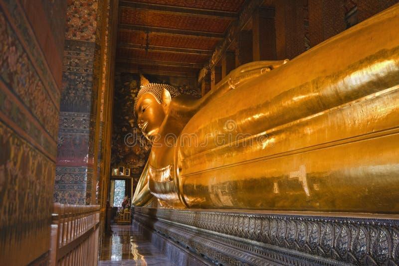 Thailand, Bangkok, Pranon Wat Pho. Laying Buddha golden statue stock images