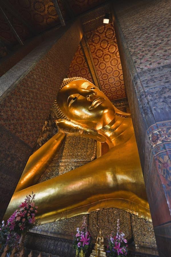 Thailand, Bangkok, Pranon Wat Pho. Laying Buddha golden statue stock photography