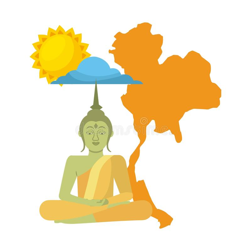 Thailand buddha map sun cloud vector illustration
