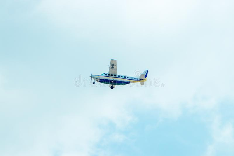 Thailand, Ching May, August 14, 2018, Cessna 208B Grand Caravan takes off from Chiang Mai airport royalty free stock photography