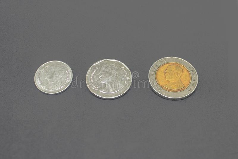 Thailand circulating coins collection set isolated on gray background.  royalty free stock photo