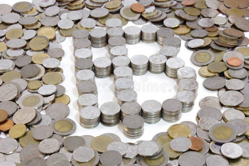 Thailand coin Baht Sign. The thailand coin Baht Sign royalty free stock photo