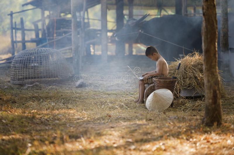 Thailand country boy sitting on a pile of straw, and playing computer notebook on farm background royalty free stock photography