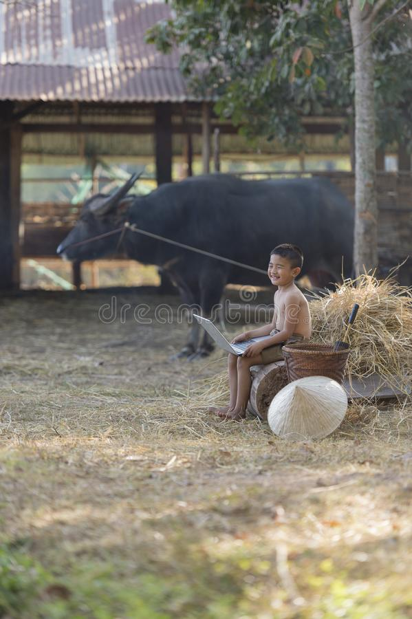 Thailand country boy sitting on a pile of straw, and playing computer notebook on farm background stock photo