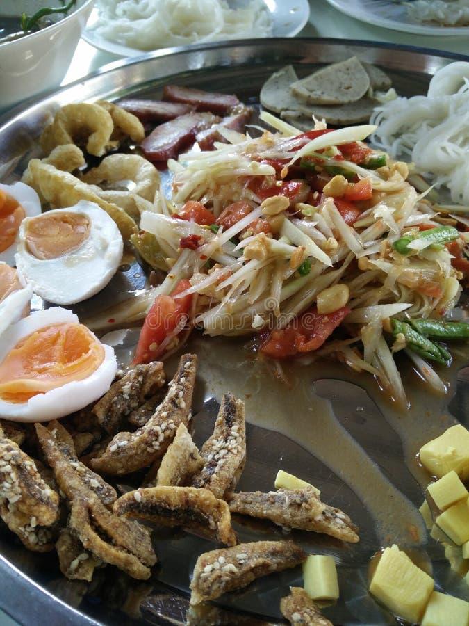 Thailand cricketers peanut salad stock image