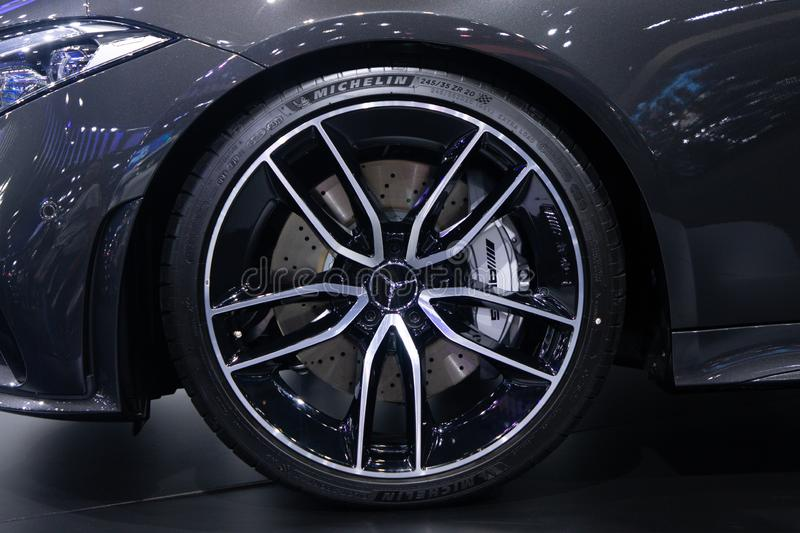Thailand - Dec , 2018: close up Mercedes benz AMG CLS 53 , black Michelin tire and alloy mag wheel stock photo