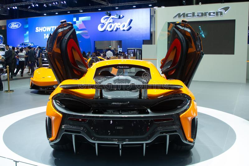 Rear view of McLaren 720S super sports  car presented in motor expo Nonthaburi Thailand royalty free stock photo
