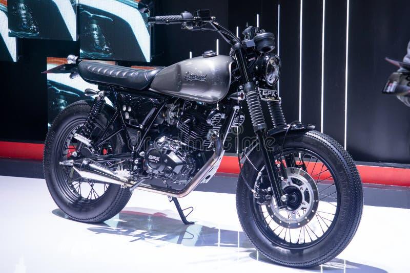 Thailand - Dec, 2018: sluit GPX-omhoog de stijlmotor van de Legendekoffie in motor Expo Nonthaburi Thailand wordt voorgesteld dat stock foto