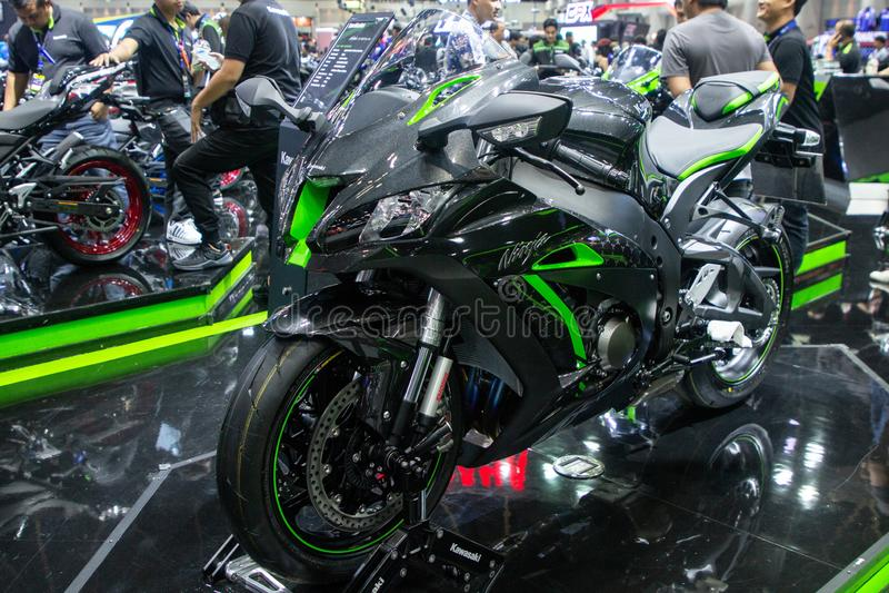 Thailand - Dec, 2018: sluit omhoog de motor van Kawasaki Ninja zx-10r in motor Expo Nonthaburi Thailand wordt voorgesteld dat stock fotografie
