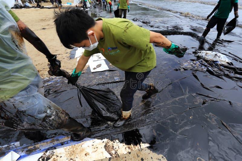 THAILAND-ENVIRONMENT-OIL-POLLUTION arkivfoto