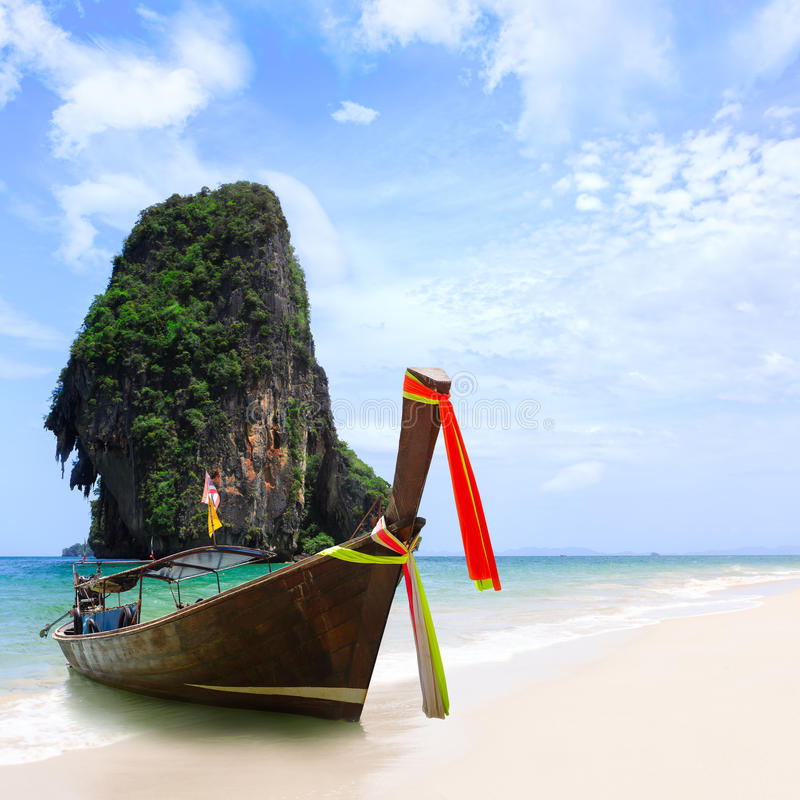 Download Thailand Exotic Sand Beach And Boats In Asian Tropical Island Stock Photo - Image: 39097168