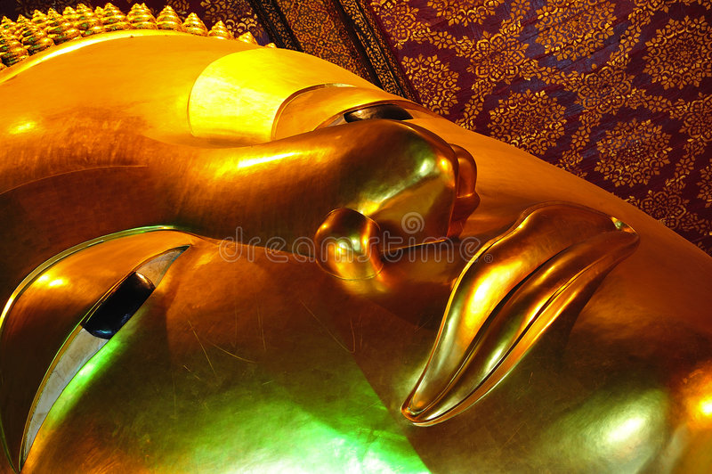 thailand för tempel för bangkok buddha pho reclining wat royaltyfri bild