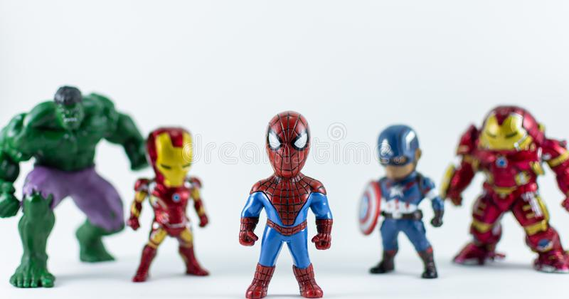 THAILAND, FEB 2019 :the adventure team on white background : Marvel toy collection in marketing campaign from Tesco Lotus. Express stock photos