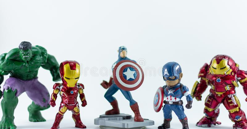 THAILAND, FEB 2019 :the adventure team on white background : Marvel toy collection in marketing campaign from Tesco Lotus. Express royalty free stock photo