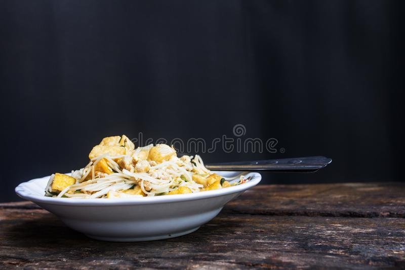 In thailand find a restaurant menu stir fired noodle is simple. Noodle stir fired Chinese taste Can be tricky, according to Chinese restaurants in the country royalty free stock photos