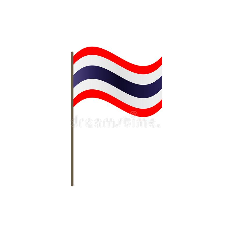 Thailand flag on the flagpole. Official colors and proportion correctly. Waving of Thailand flag on flagpole, vector illustration vector illustration
