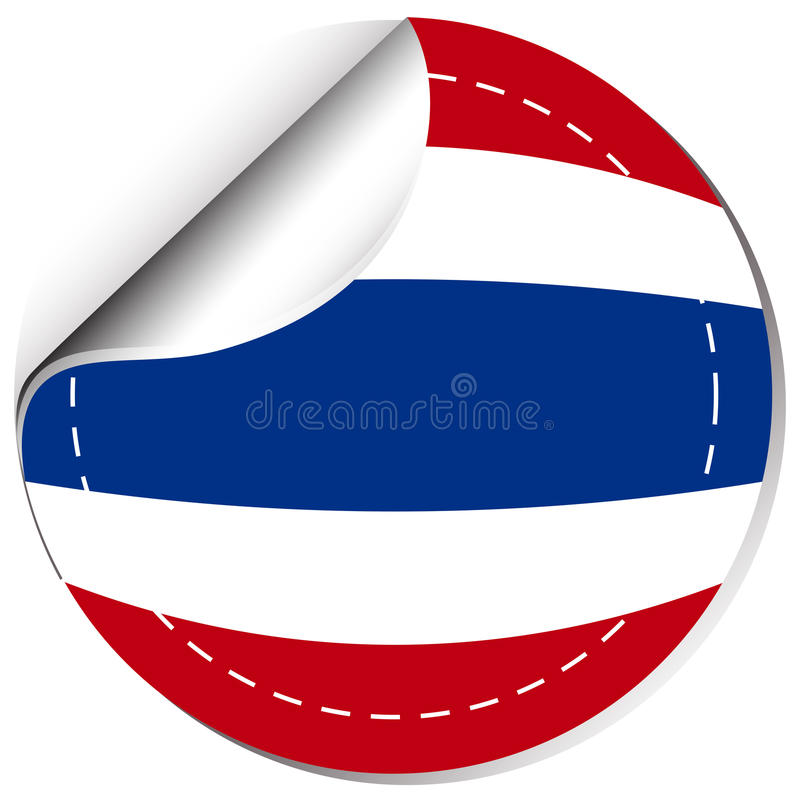Download thailand flag on round sticker stock vector illustration of clip template 90287221