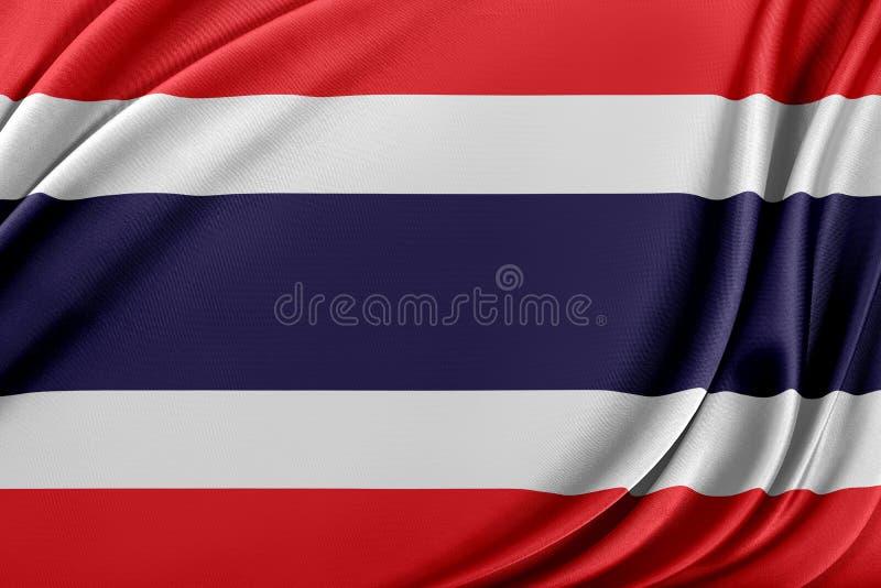 Thailand flagga med en glansig siden- textur royaltyfri illustrationer