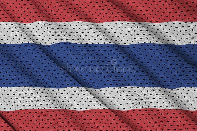 Thailand flagga som skrivs ut på en fabri för ingrepp för polyesternylonsportswear arkivfoto