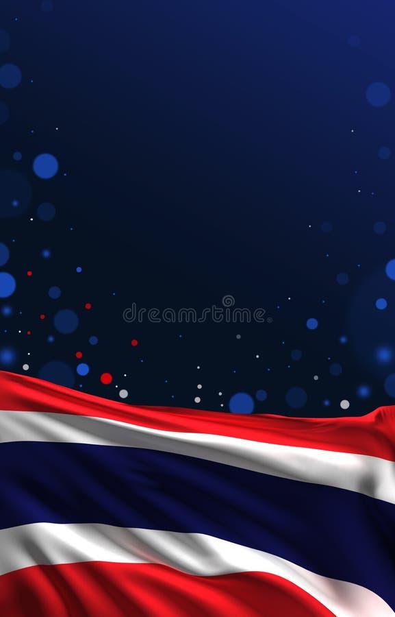 Thailand-Flagge, thailändische Wiedergabe der Farben 3D der Seide 3D vektor abbildung