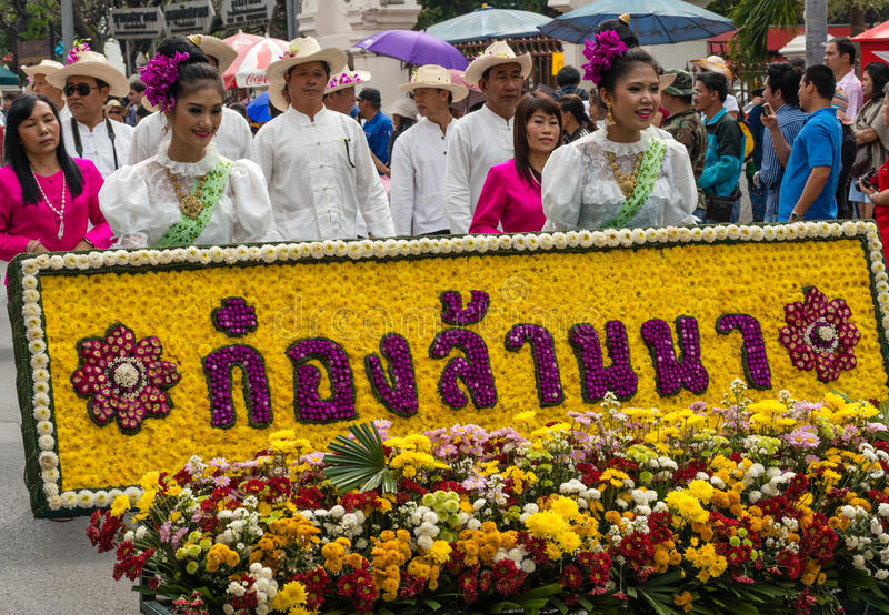 Thailand Flower Festival. CHIANG MAI,THAILAND-FEB.2, 37th Anniversary Chiang Mai Flower Festival, Unidentified woman in parade annual Chiang Mai flower festival royalty free stock photo