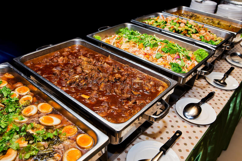 Thailand food buffet. Food buffet in the Thailand stock photo