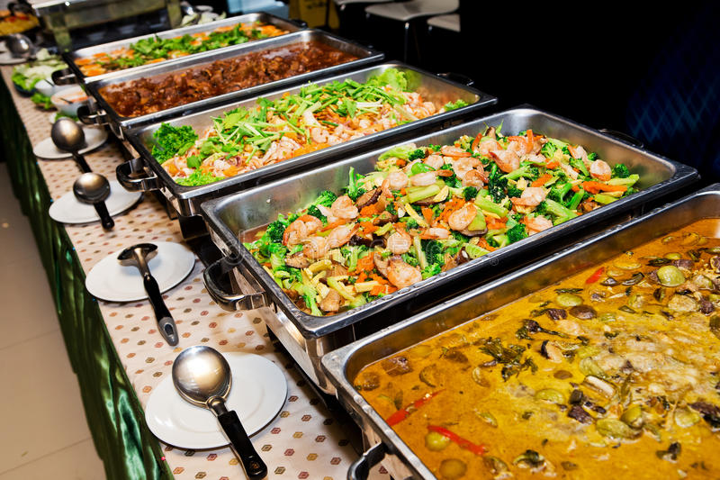 Thailand food buffet. stock images