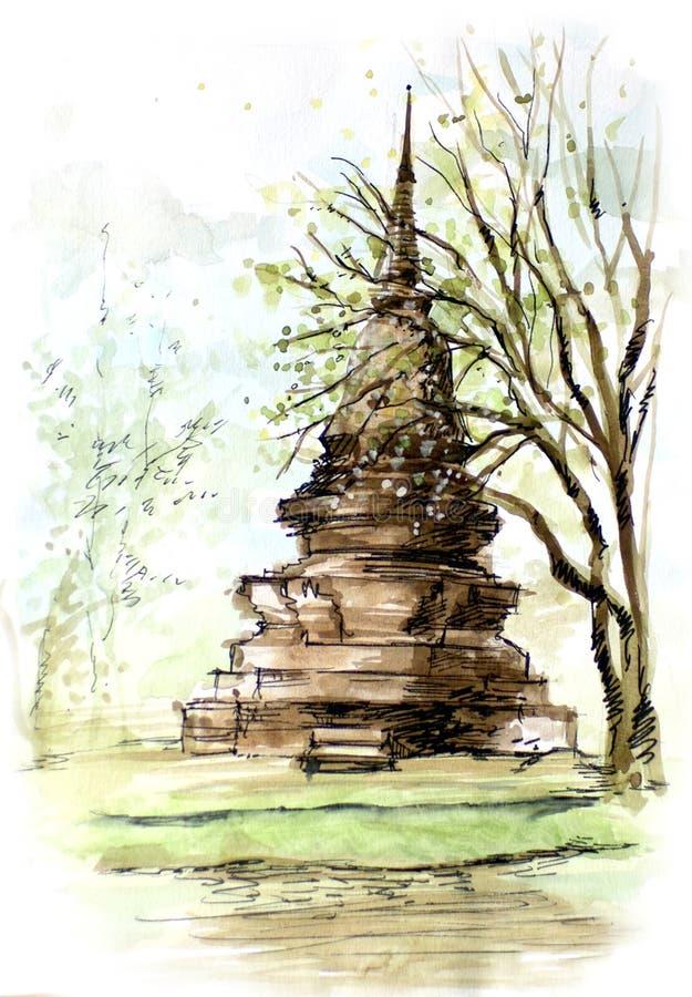 Thailand forntida pagodmålning royaltyfri illustrationer
