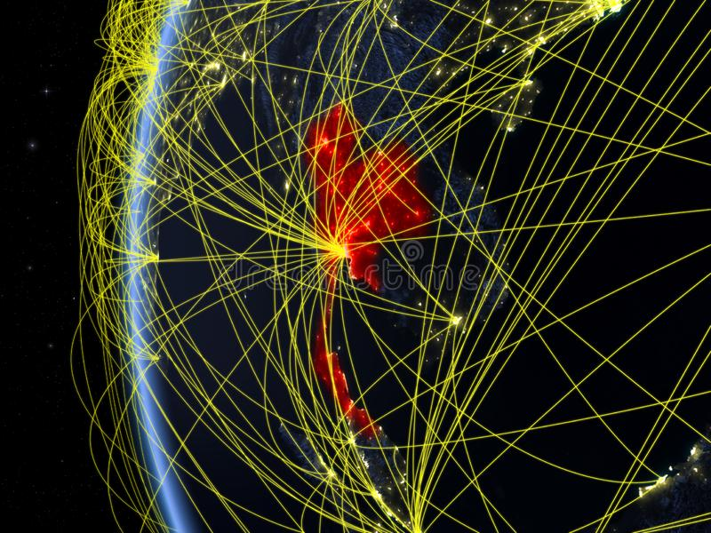 Thailand från utrymme med nätverket arkivbild
