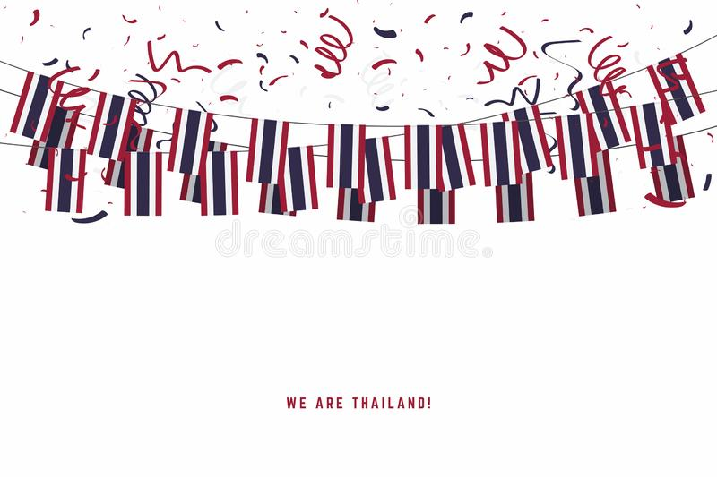 Thailand garland flag with confetti on white background, Hang bunting for Thailand celebration template banner. vector illustration