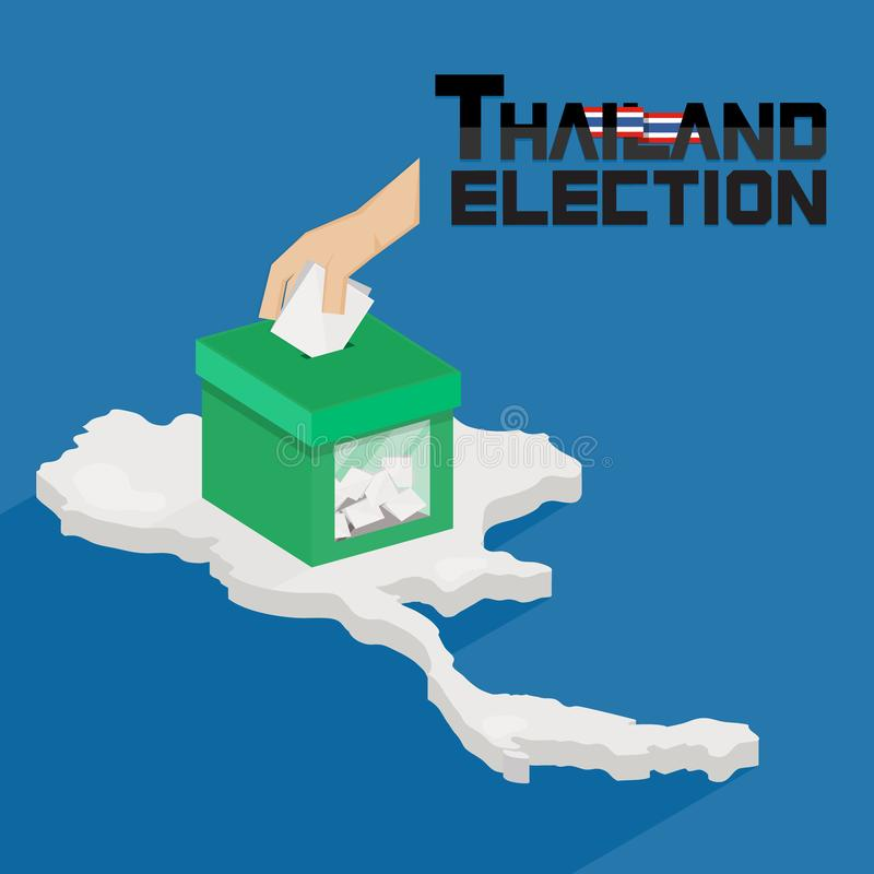 Thailand general election. Ballot box with hand voting on Thailand map background. - Vector illustration. Thailand general election. Ballot box with hand voting stock illustration