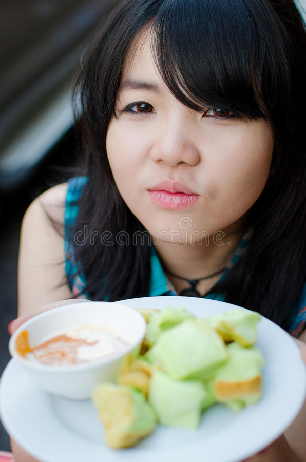 Thailand girl and food stock images