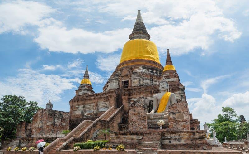 thailand Historischer Park Wat Yai Chaimongkol Tempel-Pagode herein stockfotografie