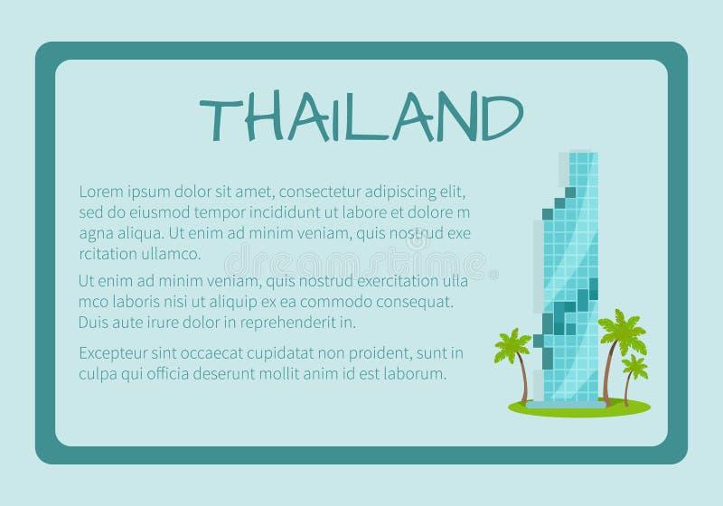 Thailand inramade det Touristic banret för vektorn med text stock illustrationer