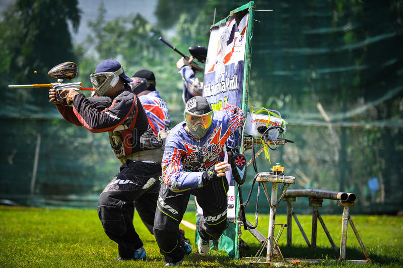 Thailand International Paintball Competition 2015. Paint ball Player from Thailand team started running for the beginning of game , In Thailand International royalty free stock photo