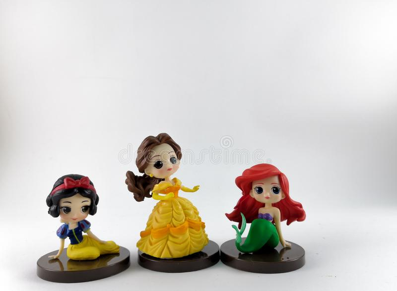 THAILAND, Jan 2018 :the Princess toys on white background and disney toy collection in marketing campaign from Tesco Lotus Express.  stock photography
