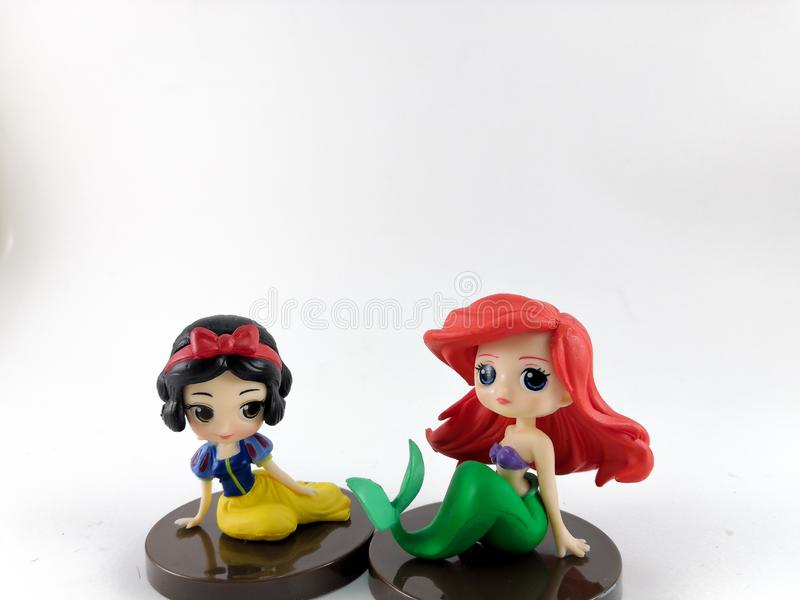 THAILAND, Jan 2018 :the Princess toys on white background and disney toy collection in marketing campaign from Tesco Lotus Express royalty free stock photo