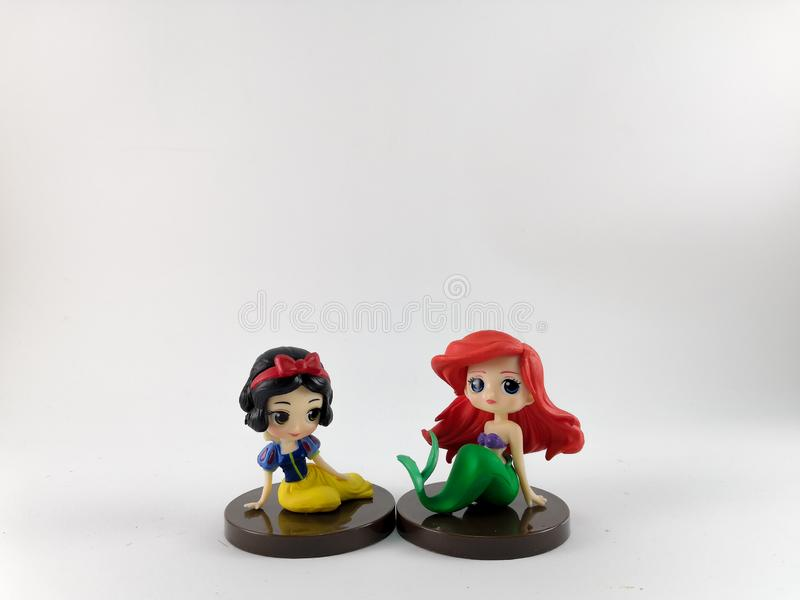THAILAND, Jan 2018 :the Princess toys on white background and disney toy collection in marketing campaign from Tesco Lotus Express.  royalty free stock images