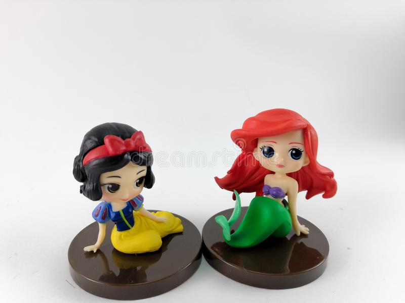THAILAND, Jan 2018 :the Princess toys on white background and disney toy collection in marketing campaign from Tesco Lotus Express.  royalty free stock photography