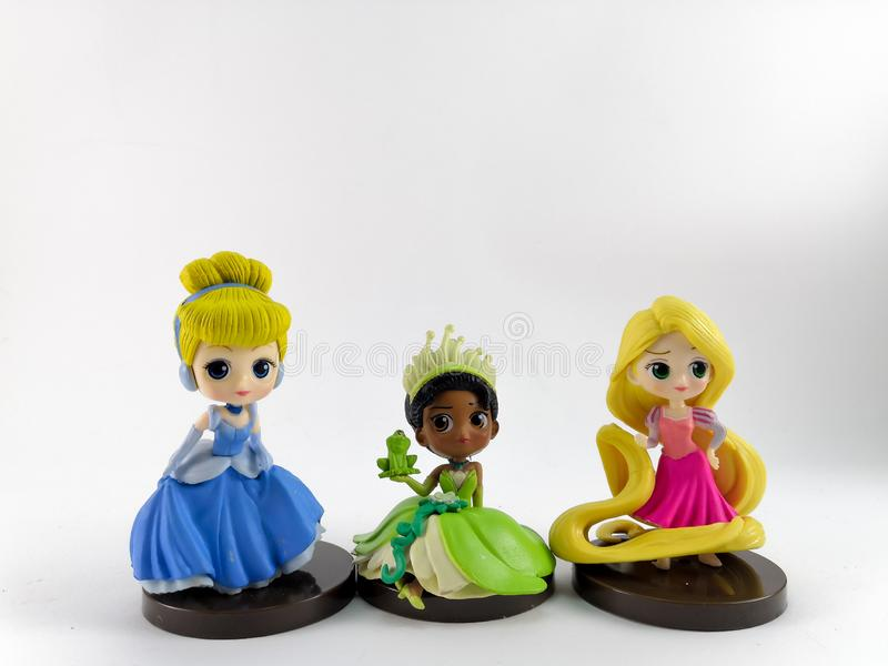 THAILAND, Jan 2018 :Princess team on white background disney toy collection in marketing campaign from Tesco Lotus Express stock image