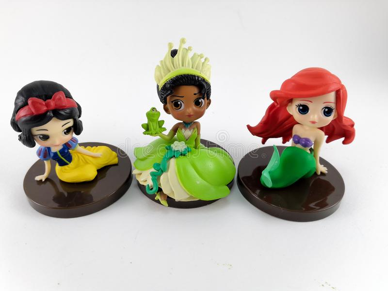 THAILAND, Jan 2018 :Princess team on white background disney toy collection in marketing campaign from Tesco Lotus Express. THAILAND, Jan 2018 :the Princess team stock photo