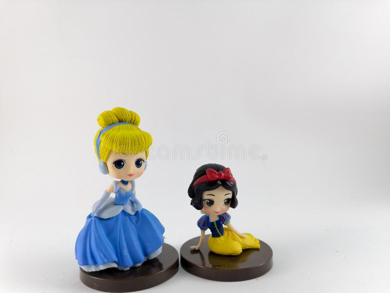 THAILAND, Jan 2018 :Princess team on white background disney toy collection in marketing campaign from Tesco Lotus Express. THAILAND, Jan 2018 :the Princess team stock photography
