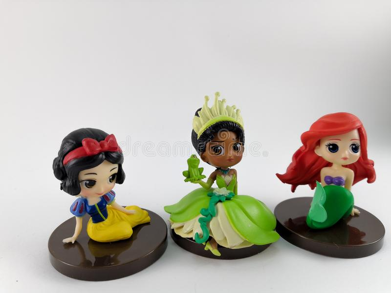 THAILAND, Jan 2018 :Princess team on white background disney toy collection in marketing campaign from Tesco Lotus Express. THAILAND, Jan 2018 :the Princess team royalty free stock photography